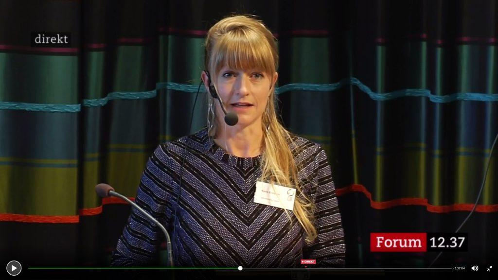 Karin Ericsson från Latinamerikagrupperna håller tal under Sametingets öppnande 2017.