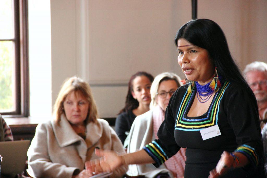 Latinamerikagruppernas gäst Patricia Gualinga från Sarayaku-folket i Ecuador talar under Earth Right's Conference i Sigtuna. Foto: Anna Nylander