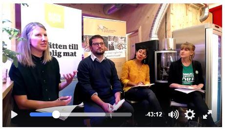 Samtal om företags straffrihet och vad vi som medborgare måste göra för att ta tillbaka makten. Fr.v. Rebecka Jalvemyr, Jérôme Chaplier, Mónica Vargas och Karin Ericsson.